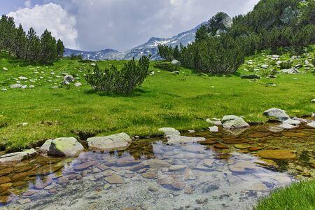 Clean water of Mountain river near Muratov peak, Pirin Mountain, Bulgaria