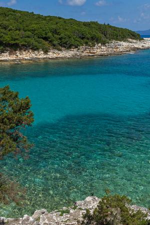 cefalonia: Panorama of Emblisi Fiskardo Beach, Kefalonia, Ionian islands, Greece Stock Photo