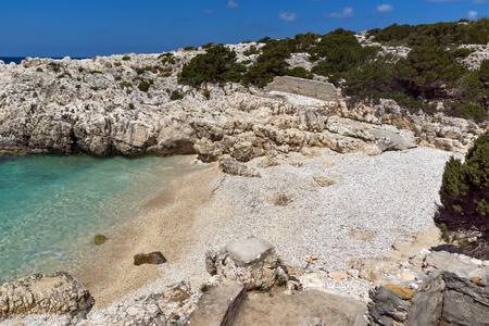 cefalonia: Panoramic view of Alaties Beach, Kefalonia, Ionian islands, Greece Stock Photo