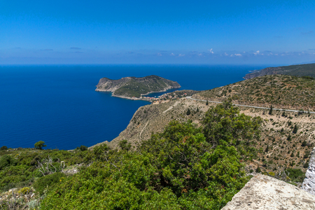 cefallonia: View of Assos village and beautiful sea bay, Kefalonia, Ionian islands, Greece Stock Photo