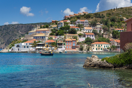 cefallonia: Panorama of Assos village and beautiful sea bay, Kefalonia, Ionian islands, Greece Stock Photo