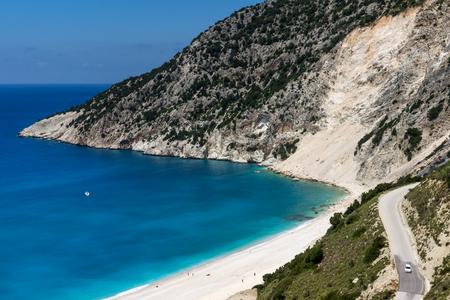 cefalonia: Blue water of beautiful Myrtos beach, Kefalonia, Ionian islands, Greece