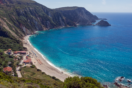 cefallonia: Amazing Paorama of Petani Beach, Kefalonia, Ionian Islands, Greece Stock Photo