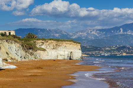 cefallonia: amazing seascape of Xi Beach,beach with red sand in Kefalonia, Ionian islands, Greece