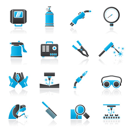 safety goggles: Welding and construction tools icons - vector icon set