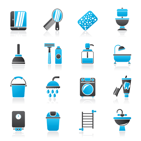 Bathroom and hygiene objects icons - vector icon set Stock Illustratie