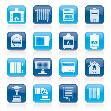 caldron: Home Heating appliances icons - vector icon set
