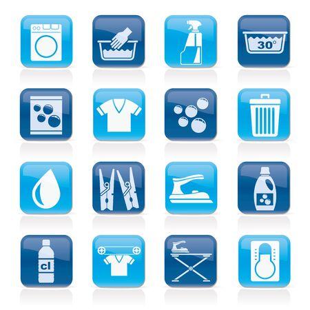 water basin: Black Washing machine and laundry icons - vector icon set
