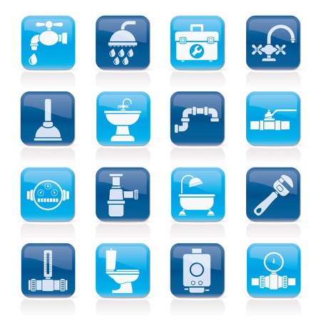 plumbing objects and tools equipment icons - vector icon set Vector Illustration