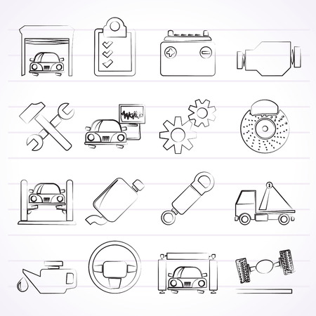 motor car: Car service maintenance icons - vector icon set