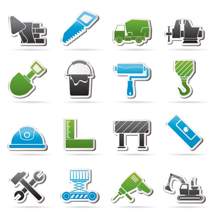 carpenter vise: Building and construction tools icons - vector icon set