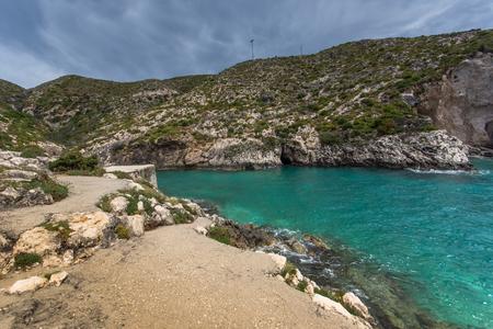 zakynthos: Panorama of Limnionas beach bay at Zakynthos island, Greece Stock Photo
