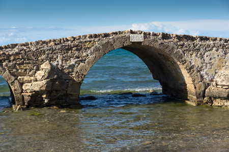 ionian: Seascape with medieval bridge in the water at Argassi beach, Zakynthos island, Greece