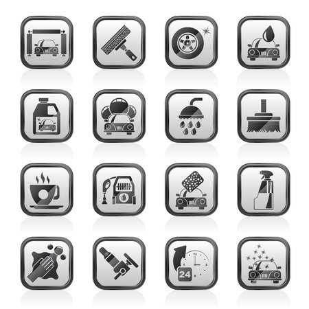 Professional car wash objects and icons - vector icon set Иллюстрация