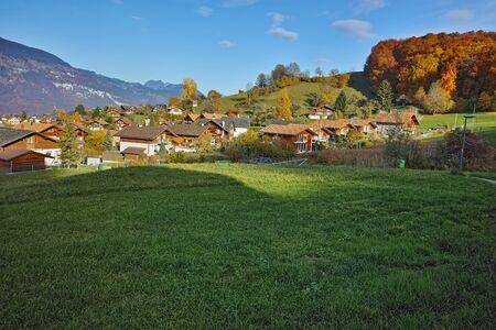 interlaken: Green meadows near town of interlaken, canton of Bern, Switzerland Stock Photo