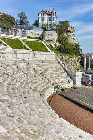 teatro antiguo: Ruinas del teatro romano antiguo en Plovdiv, Bulgaria