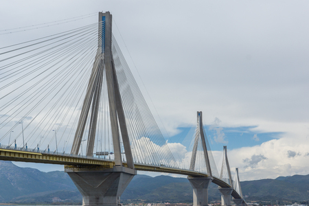 cable bridge: Seascape with The cable bridge between Rio and Antirrio, Patra, Western Greece Stock Photo