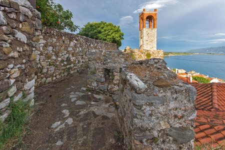 western town: Seascape with Clock tower in Nafpaktos town, Western Greece