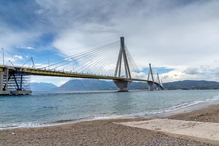 The cable bridge between Rio and Antirrio, Patra, Western Greece Editorial