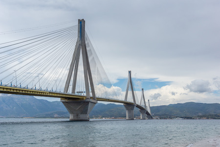 Amazing view of The cable bridge between Rio and Antirrio, Patra, Western Greece Editorial