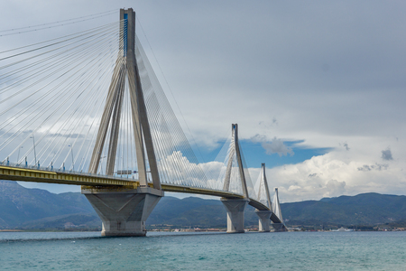 peloponnes: View of The cable bridge between Rio and Antirrio, Patra, Western Greece