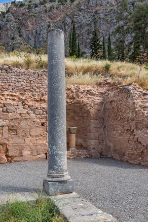 delphi: Columns of Ancient Greek archaeological site of Delphi,Central Greece