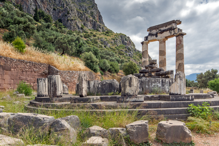 Athena Pronaia Sanctuary at Delphi, Central Greece Stock Photo