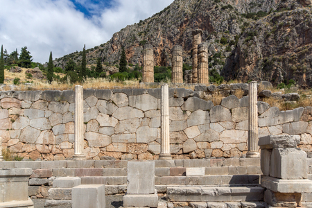 prophecy: Column in The Temple of Apollo in Ancient Greek archaeological site of Delphi,Central Greece