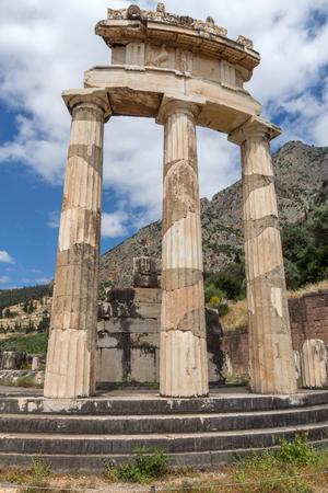 delphi: Athena Pronaia Sanctuary at Delphi, Central Greece Stock Photo