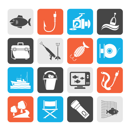 fishing vessel: Silhouette Fishing industry icons - vector icon set