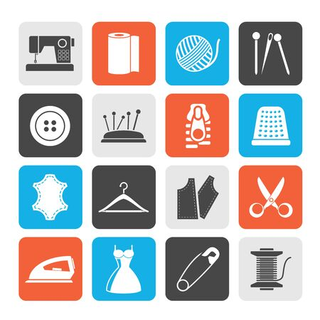 objects equipment: Silhouette sewing equipment and objects icons - vector icon set Illustration