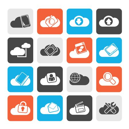 cloud services: Silhouette cloud services and objects icons - vector icon set