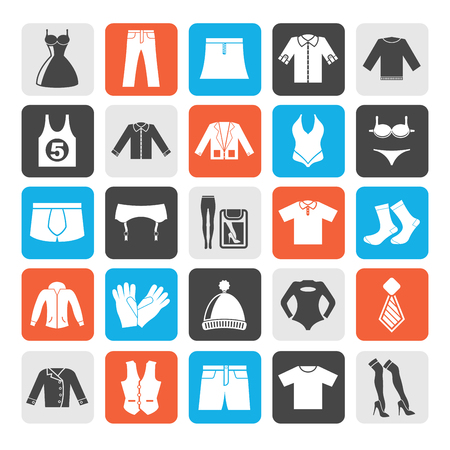 fashion collection: Silhouette Clothing and Fashion collection icons - vector icon set