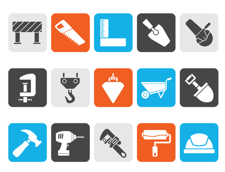 plumb: Silhouette Construction industry and Tools icons - vector icon set Illustration