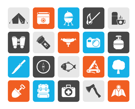 gas barbecue: Silhouette Camping, travel and Tourism icons - vector icon set