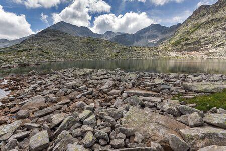 rocky shore of  Musalenski lakes,  Rila mountain, Bulgaria Stock Photo