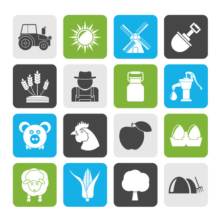menu land: Silhouette Agriculture and farming icons - vector icon set Illustration