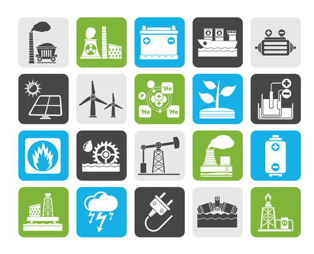 mine site: Silhouette Electricity and Energy source icons - vector icon set