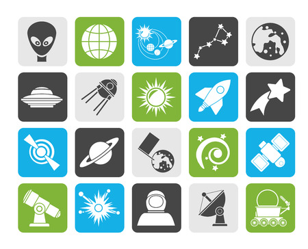 ursa: Silhouette astronomy and space icons  - vector icon set