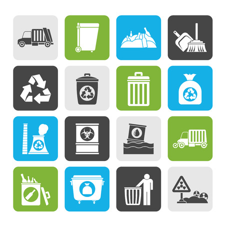 landfill site: Silhouette Garbage, cleaning and rubbish icons - vector icon set