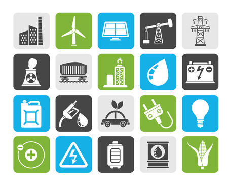 water mill: Silhouette Power, energy and electricity Source icons - vector icon set Illustration