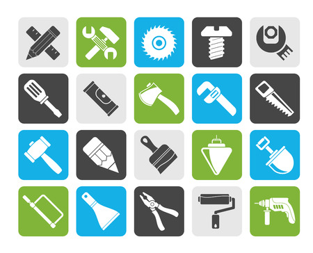 tools icon: Silhouette Construction tools object icons - vector icon set