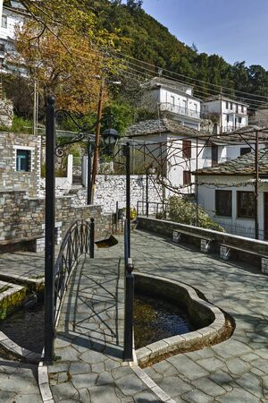 thassos: Bridge in Center of village of Panagia, Thassos island,  East Macedonia and Thrace, Greece Editorial