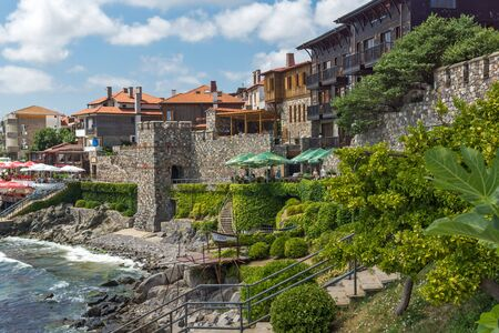 archeologist: ancient fortifications and Panoramic view of Sozopol town, Burgas Region, Bulgaria