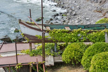 archeologist: Old Boat on embankment of old town of Burgas Region, Bulgaria