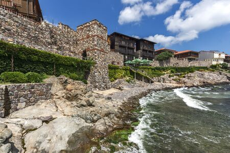 archeologist: Amazing Panorama with ancient fortifications and old houses of Sozopol, Burgas Region, Bulgaria