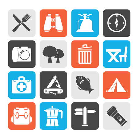 pocket knife: Silhouette Camping, tourism and travel icons - vector icon set Illustration