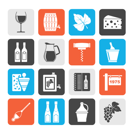 wine industry: Silhouette Wine industry objects icons -vector icon set