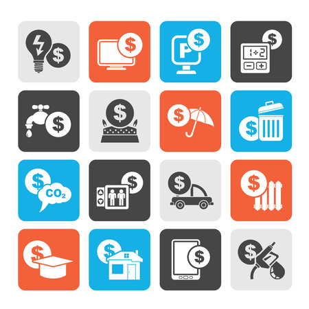 car bills: Silhouette payment of  bills icons - vector icon set