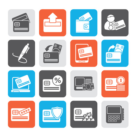 pocket book: Silhouette credit card, POS terminal and ATM icons - vector icon set